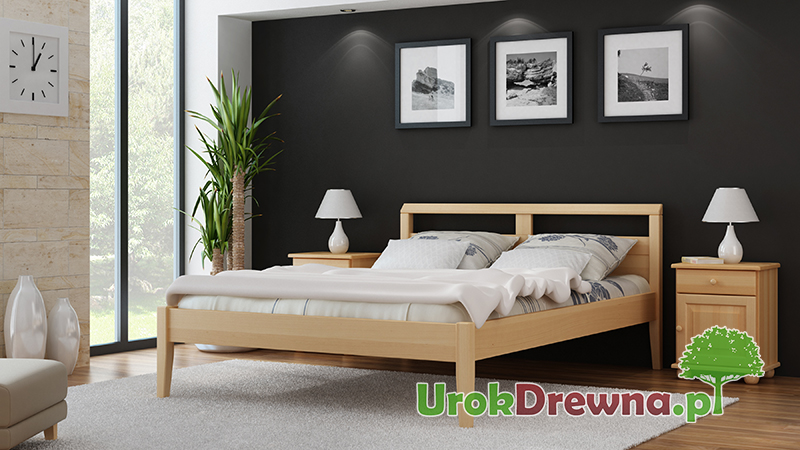 Drewniane łóżko do sypialni bukowe Ida