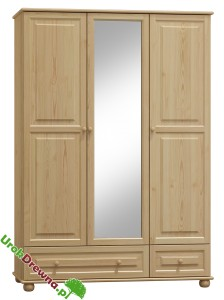Szafa sosnowa 3 drzwiowa z lustrem 120 cm (nr kat 65b)