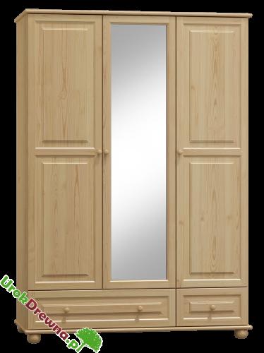 Szafa Sosnowa 3 Drzwiowa Z Lustrem 133 Cm Nr Kat 65b Urokdrewnapl