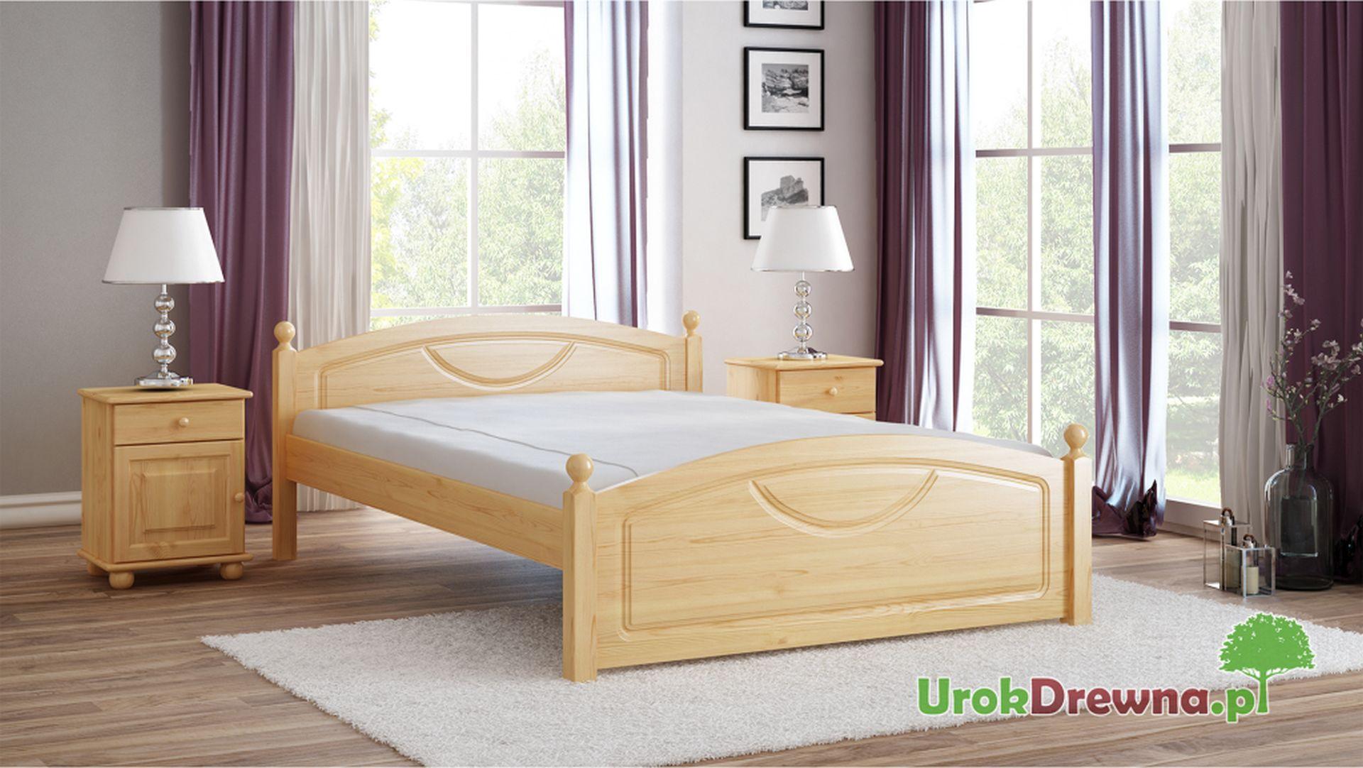 Aranżacja łóżka z drewna sosnowego Kristo toczone nogi