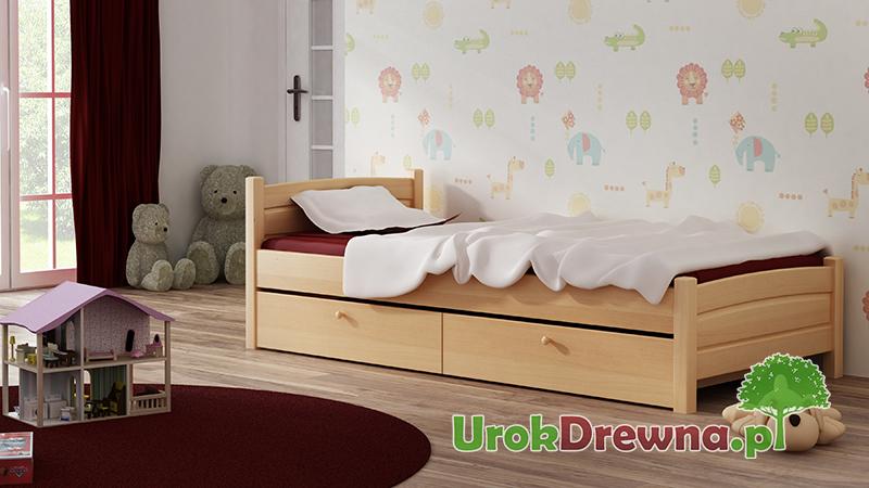 Łóżko drewniane jednoosobowe 90x200 z szufladami