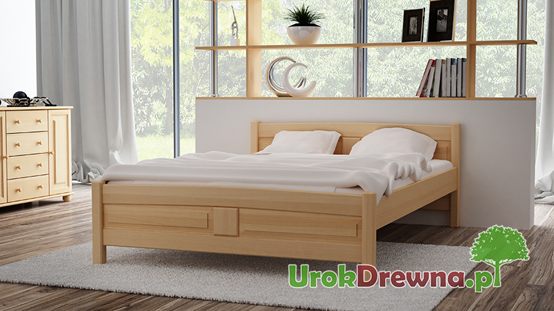 Łóżko do sypialni z drewna bukowego Filonek, kolor buk naturalny